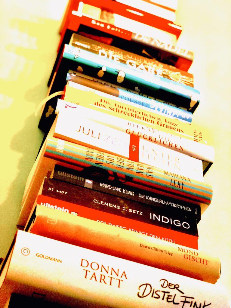 Stapel von Büchern aus der privaten Bibliothek von Julia Hartel
